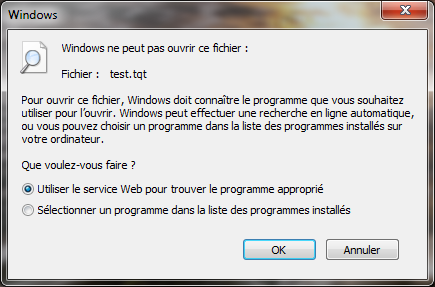 Boîte de dialogue Windows 7 - Extension inconnue
