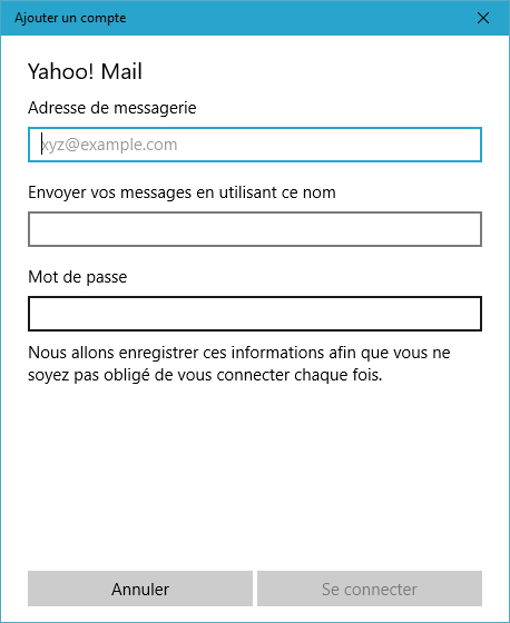 Courrier sous Windows 10