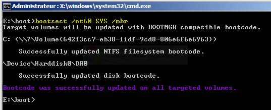 Windows 7 ne démarre plus : Réparation du Master Boot Record